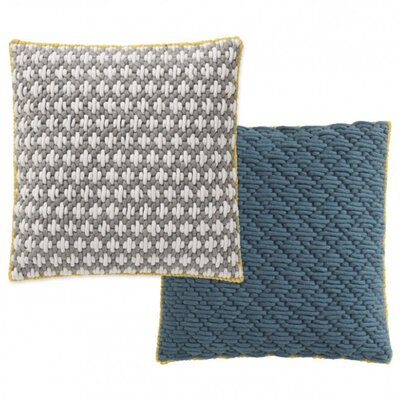 Silai Wool Throw Pillow Color: Light Gray - Blue