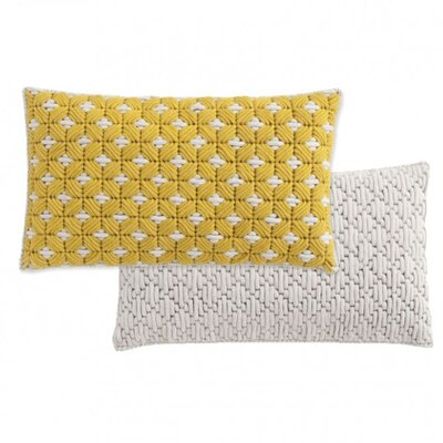 Silai Wool Throw Pillow Color: Yellow - White