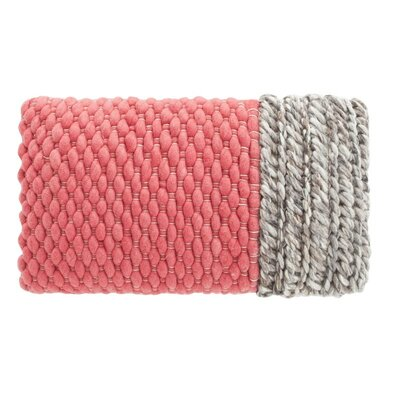 Mangas Space Plait Wool Throw Pillow Color: Coral