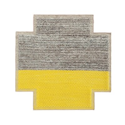Mangas Space Handmade Yellow/Gray Area Rug Rug Size: Criss Cross 53 x 53