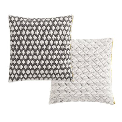 Silai Wool Throw Pillow Color: Dark Gray - White