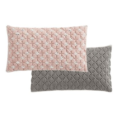 Silai Wool Lumbar Pillow Color: Rose - Light Gray