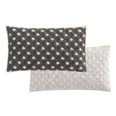 Silai Wool Lumbar Pillow Color: Dark Gray - White