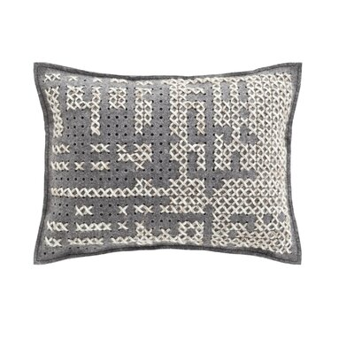 Canevas Wool Lumbar Pillow Size: 17 W x 22 W, Color: Silver / Grey