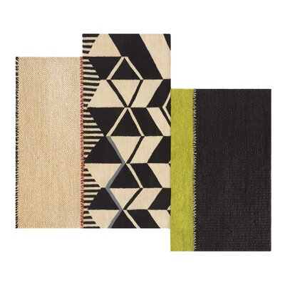 Space Rustic Chic Hand-Woven Beige/Black Area Rug Rug Size: 810 x 111