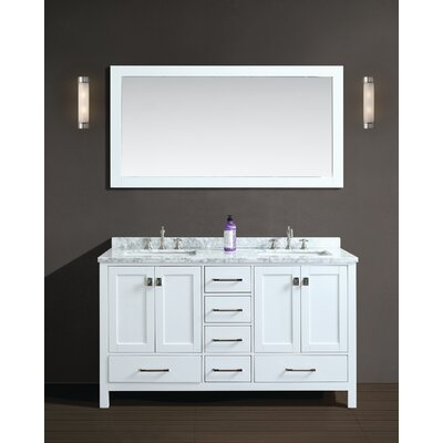 Bella 60 Double Bathroom Vanity Set with Mirror Finish: White