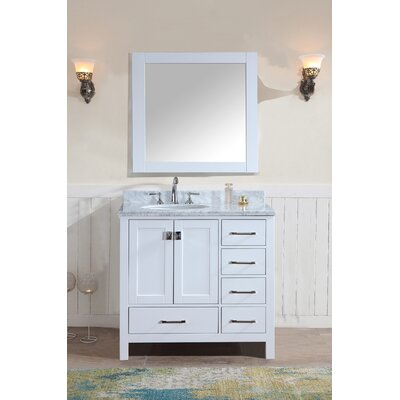Bella 36 Single Bathroom Vanity Set with Mirror Base Finish: White
