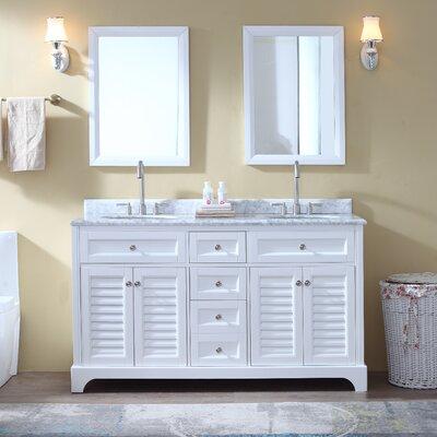 Madison 60 Double Bathroom Vanity Set Base Finish: White