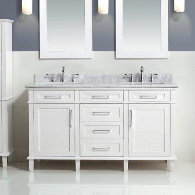 Newport 60 Double Bathroom Vanity Set Base Finish: White