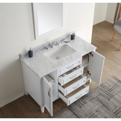 Jude 48 Single Bathroom Vanity Set Base finish: White