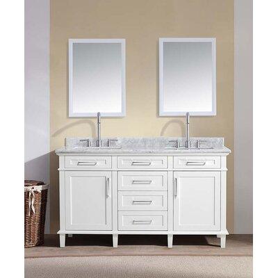 60 Double Bathroom Vanity Set Base Finish: White