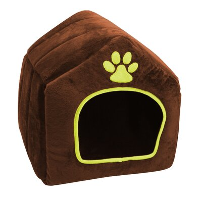 House Shaped Pet Bed Size: x Large (17.72 L x 17.32 W), Color: Brown/Yellow