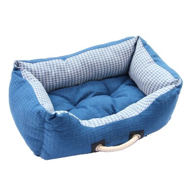 Polyester Linen Pet Bed Size: 8.27 H x 23.62 W x 17.72 D, Color: Blue