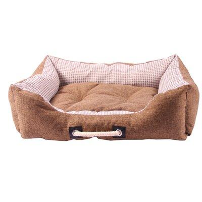 Polyester Linen Pet Bed Size: 8.27 H x 23.62 W x 17.72 D, Color: Brown
