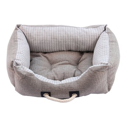 Polyester Linen Pet Bed Color: Gray, Size: 9.45 H x 32.68 W x 24.41 D