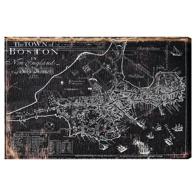 Town Of Boston Map 1722 Canvas Print