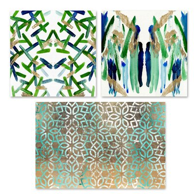 'Lattice Lagoon' 3 Piece Graphic Art Print Set on Canvas
