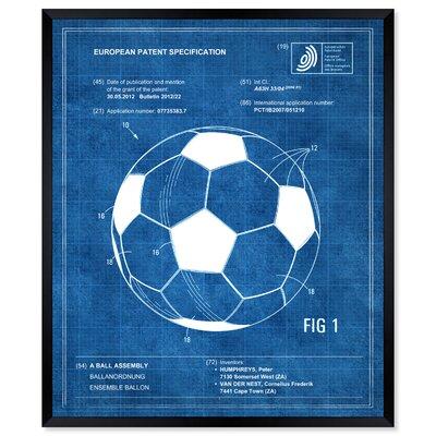 "'Soccer ball 2012 Blue' Framed Graphic Art Print Size: 20"" H x 17"" W WLFR6052 44291672"