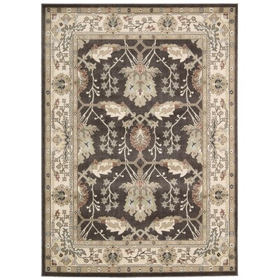 Auvergne Black/Ivory Area Rug Rug Size: Rectangle 93 x 129