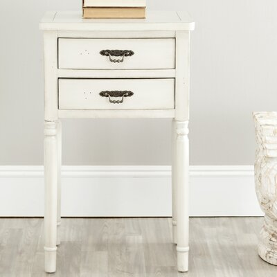 Montauban 2 Drawer End Table Color: White
