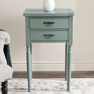 Montauban 2 Drawer End Table Color: Dusty Green