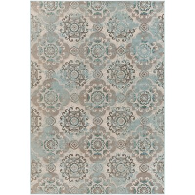 Raquel Machine Woven Teal/Silver/Gray Area Rug Rug Size: Rectangle 68 x 98