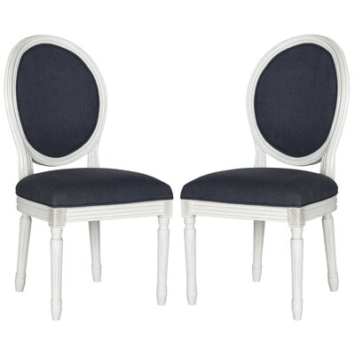 Alpes Upholstered Dining Chair Frame Finish / Upholstery: Cream / Navy