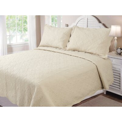Vernon Quilt Set Color: Ecru, Size: Full / Queen