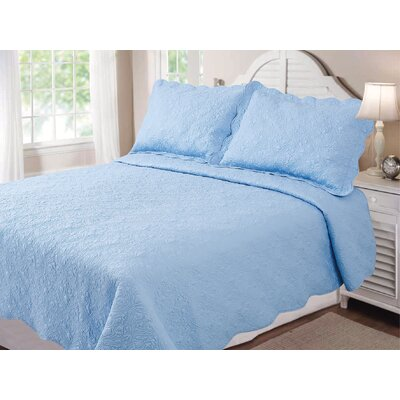 Vernon Quilt Set Size: Twin, Color: Blue