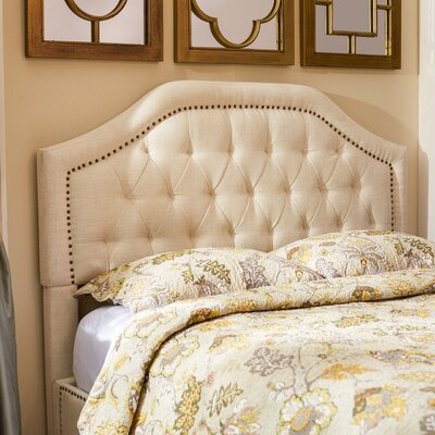 Djibril Scalloped Upholstered Panel Headboard Upholstery Color: Cotton, Size: Queen