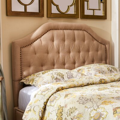 Djibril Scalloped Upholstered Panel Headboard Size: King, Upholstery Color: Oatmeal