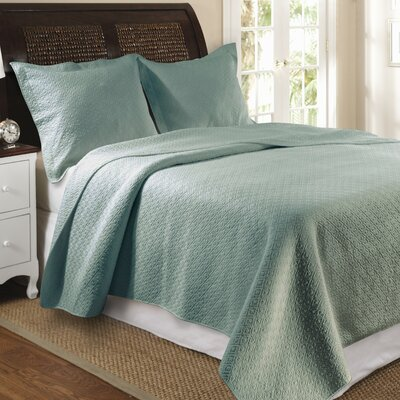 Antoine Cotton Reversible Quilt Set Size: Full / Queen, Color: Slate Blue