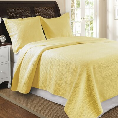 Antoine Cotton Reversible Quilt Set Size: King, Color: Yellow