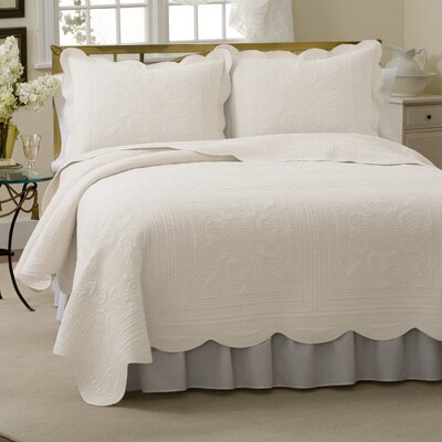 Ambroise Quilt Size: King, Color: White