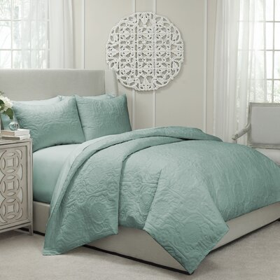 Jules Cotton 3 Piece Coverlet Set Size: Queen, Color: Spa