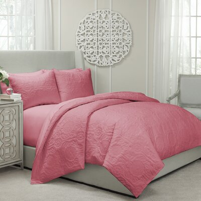 Jules Cotton 3 Piece Coverlet Set Size: King, Color: Coral