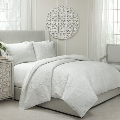 Jules Cotton 3 Piece Coverlet Set Size: Queen, Color: Ivory