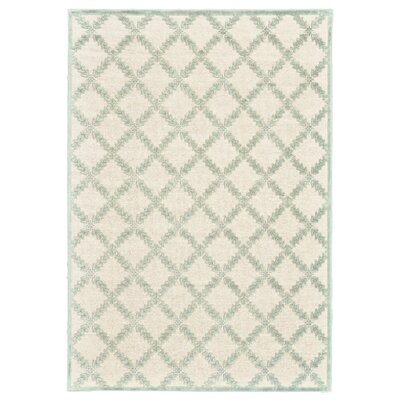 Prioleau Cream/Mint Area Rug Rug Size: 53 x 76