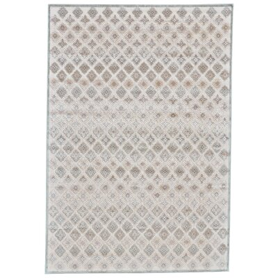 Primeaux Faux Silk Cream/Silver Area Rug Rug Size: Rectangle 53 x 76