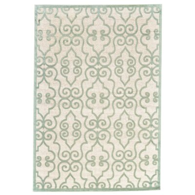 Robicheaux Cream/Light Green Area Rug Rug Size: 53 x 76