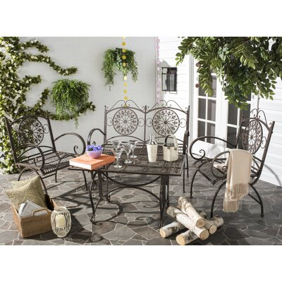 Lajoie 4 Piece Outdoor Seating Group Color: Rustic Brown