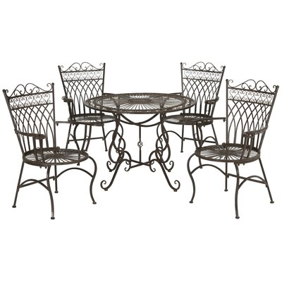 Lamarre 5 Piece Outdoor Dining Set Color: Rustic Brown