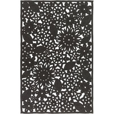 Camille Hand Woven Black Indoor/Outdoor Area Rug Rug Size: 4 x 6