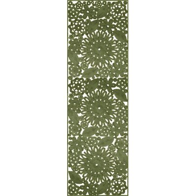Camille Hand Woven Green Indoor/Outdoor Area Rug Rug Size: Runner 26 x 8