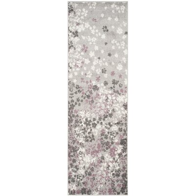 Ales Light Grey/Purple Area Rug Rug Size: Runner 26 x 6