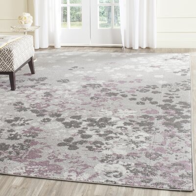 Ales Light Grey/Purple Area Rug Rug Size: Round 8