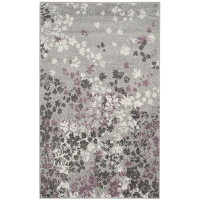 Ales Light Grey/Purple Area Rug Rug Size: 5'1