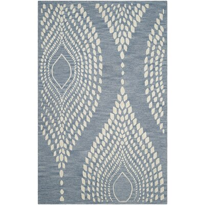 Smith Hand-Tufted Blue/Ivory Area Rug Rug Size: 5 x 8