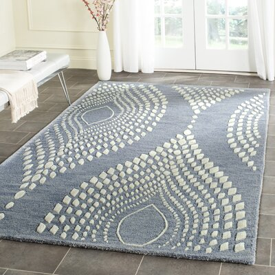 Smith Hand-Tufted Blue/Ivory Area Rug Rug Size: Rectangle 26 x 4
