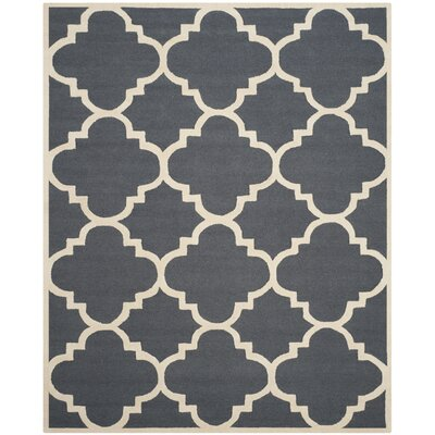 Blakemore Hand-Tufted Dark Grey/Ivory Area Rug Rug Size: 9 x 12